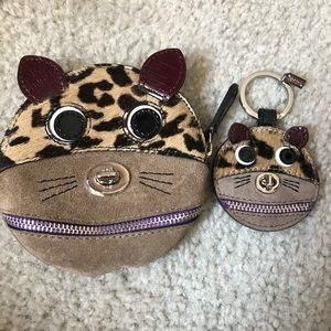 Coach Cat coin purse and matching keychain